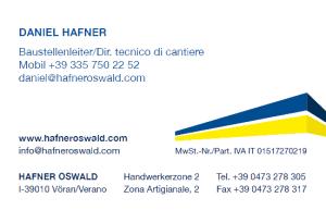 Daniel Hafner - Hafner Bau | Baufirma | Meran | Schlüsselfertig | Bauunternehmen